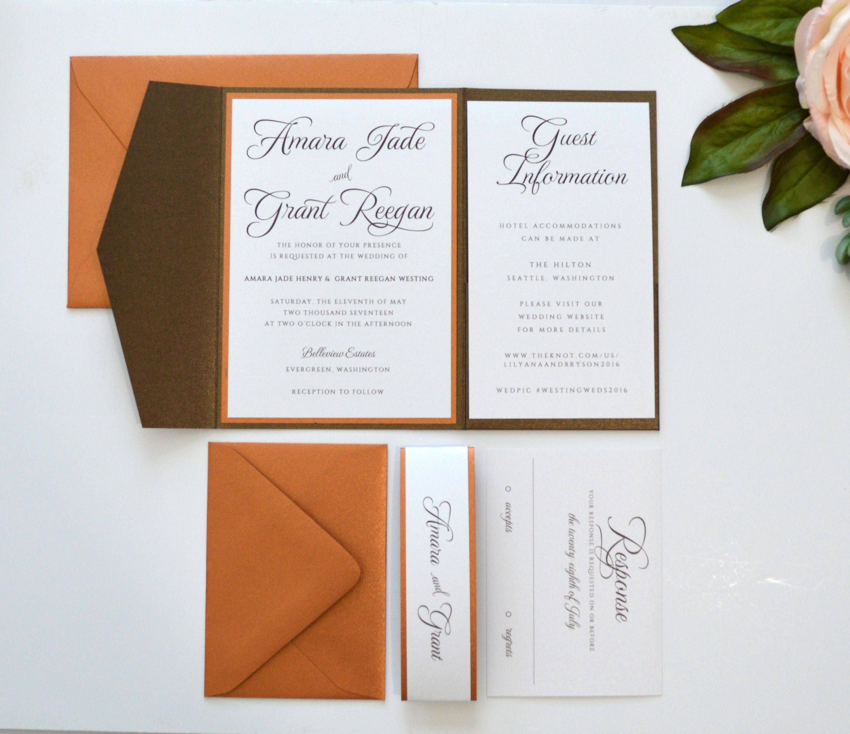 Rustic Wedding Invitation, Brown Wedding Invitation, Copper Wedding ...