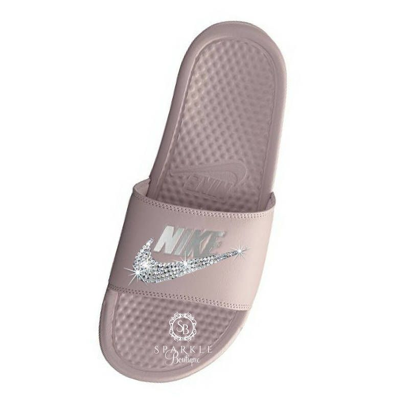 new concept 5fcd5 81eb0 Nike Slides - Swarovski Nike - Rose Bling Nike - Bedazzled Nike - Nike  Benassi JDI Slides - All Sizes - Rose Color - Sparkly Nike Slides by ...