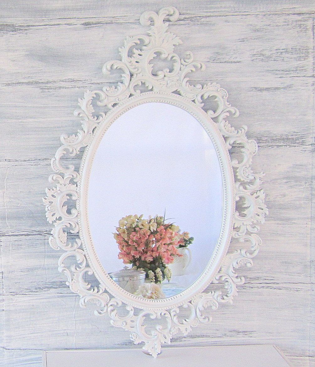 """Themes For Baby Room Antique Mirrors: OVAL WHITE MIRROR French Country Mirrors For Sale 31""""x25"""