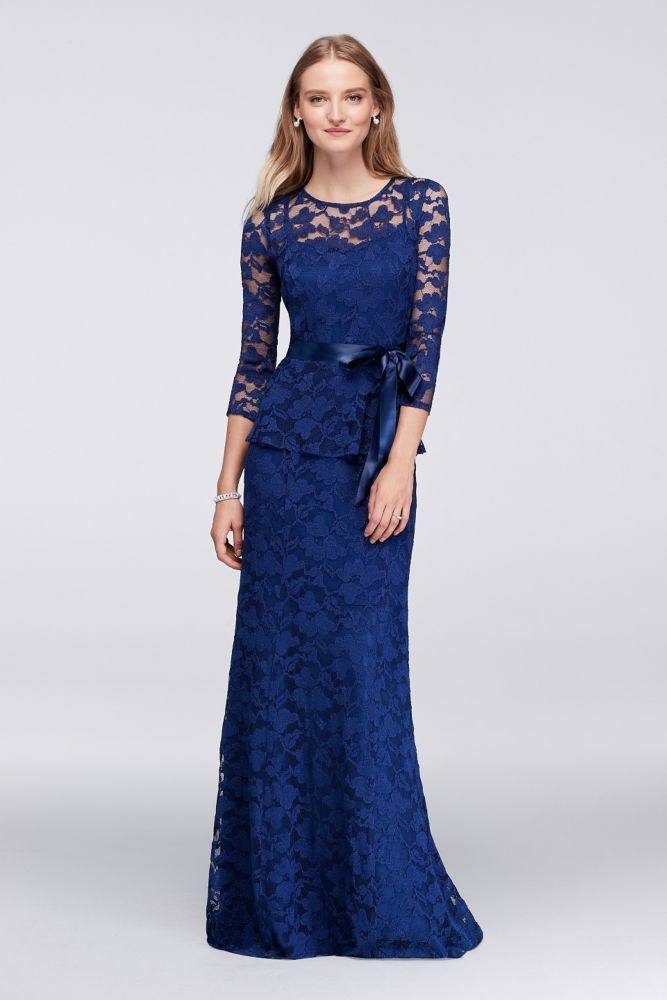 4c415495b48 Mock 2-Piece Mother of Bride Groom Gown with Illusion Lace Neckline - Navy ( Blue)