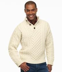 Llbean Cable Irish Fisherman Sweater Button Mock Mens Regular