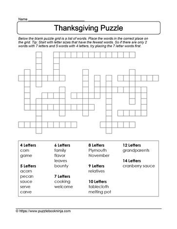 FREE downloadable puzzle. Thanksgiving theme. | Puzzle ...