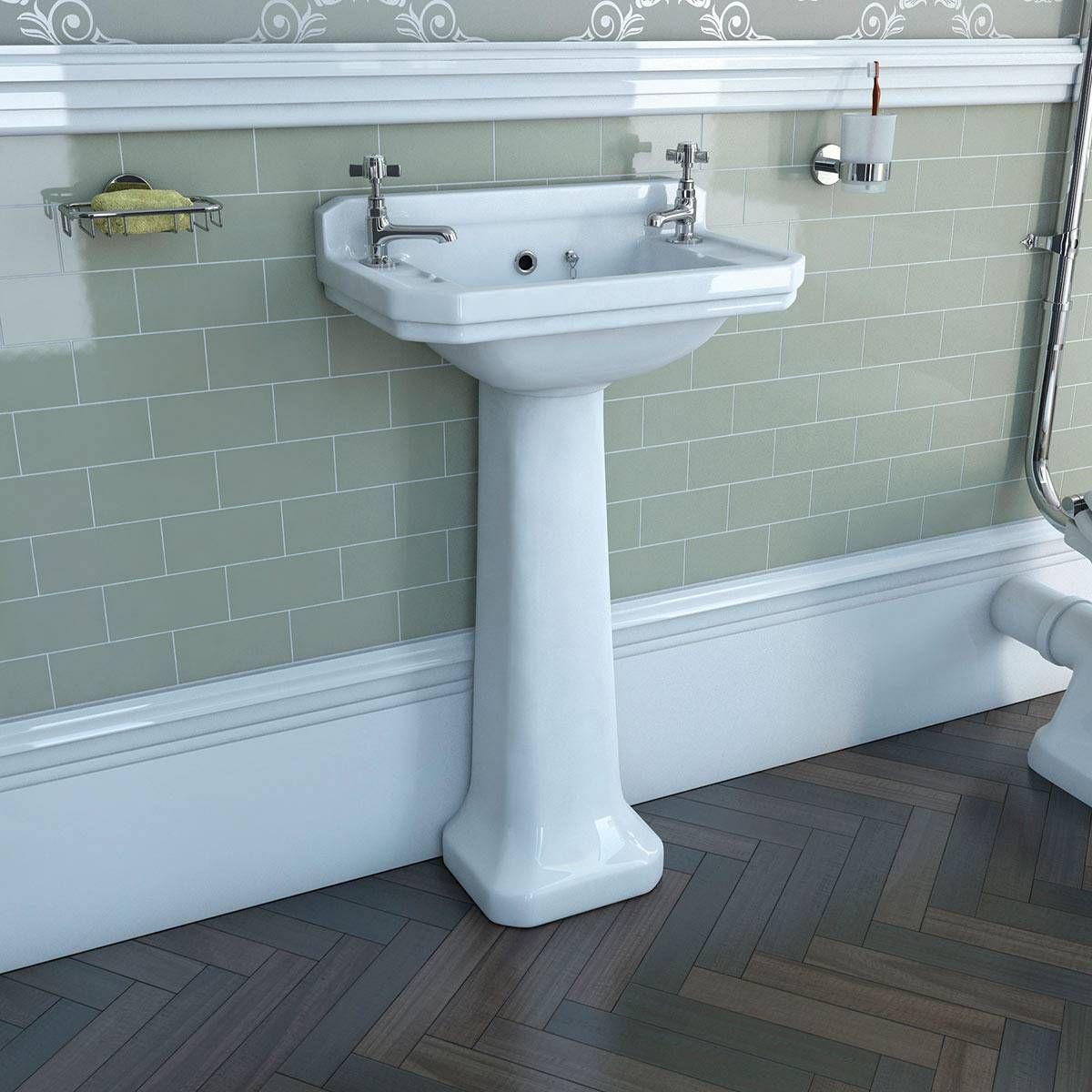 Camberley 2th cloakroom basin pedestal victoria plumb for Bathroom cabinets victoria plumb