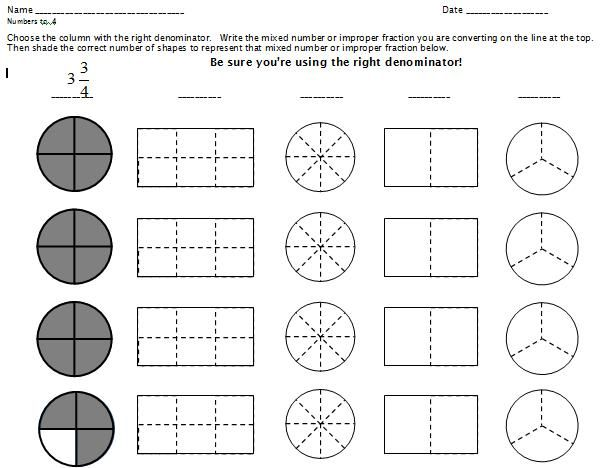 Mixed Numbers and Improper Fractions with Fraction Towers – Improper and Mixed Fractions Worksheets