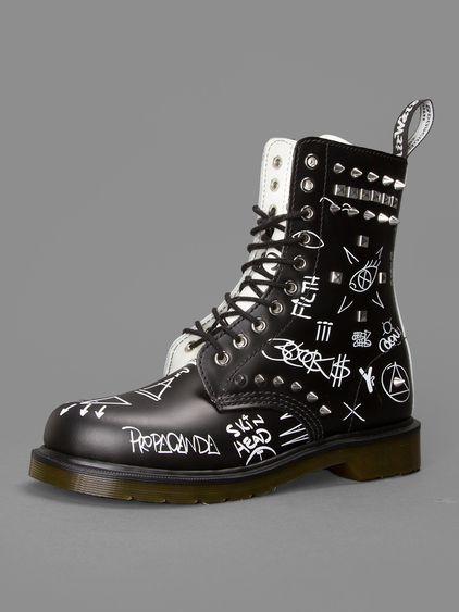 LA vibes w  Dr Martens core applique May Child stud graffiti 10 eyelet  boots