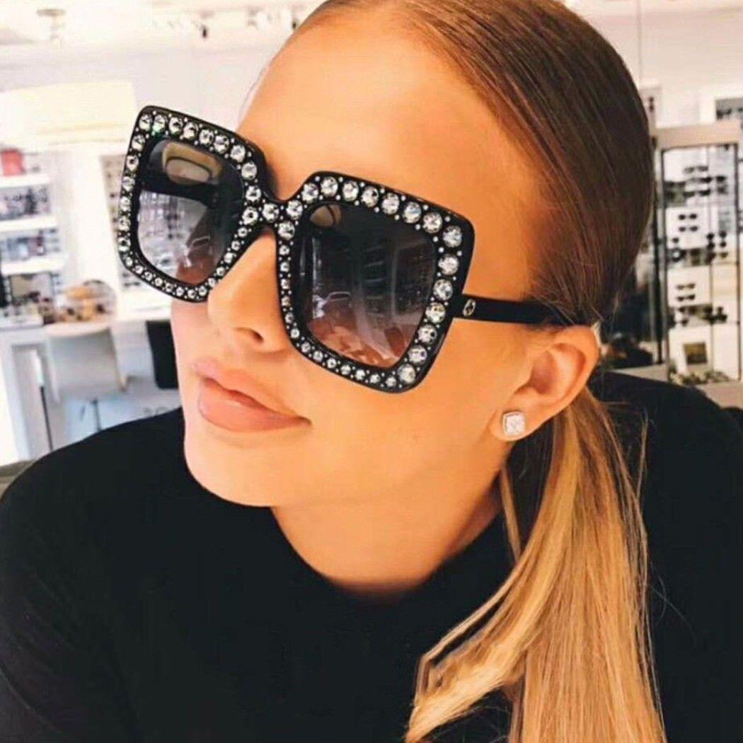 8ee4aad888 Large Square Frame Bling Rhinestone Sunglasses Women Fashion ...