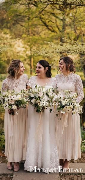 Long Sleeves Round Neck A-line Long Cheap Ivory Chiffon Top Lace Bridesmaid Dresses, TYP0106 Long Sleeves Round Neck A-line Long Cheap Ivory Chiffon Top Lace Bridesmaid Dresses, TYP0106 #lacebridesmaids