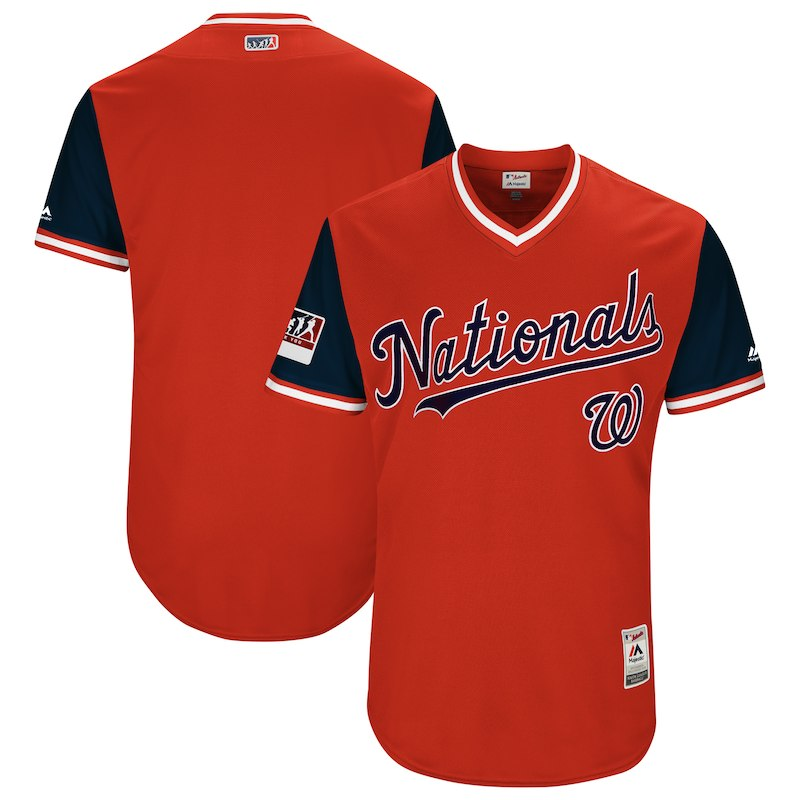 a36c83b45 Washington Nationals Majestic 2018 Players' Weekend Authentic Team Jersey –  Red/Navy Washington Nationals