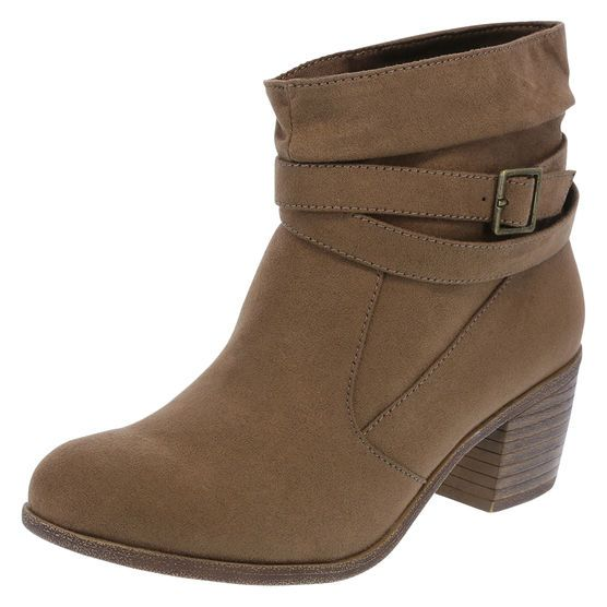 """With a slouched silhouette, the Willow Boot from American Eagle will easily keep you on trend. It features a round toe, wrap strap with buckle, soft jersey lining, 2 1/4"""" stacked heel, and a rubber outsole. Manmade materials."""