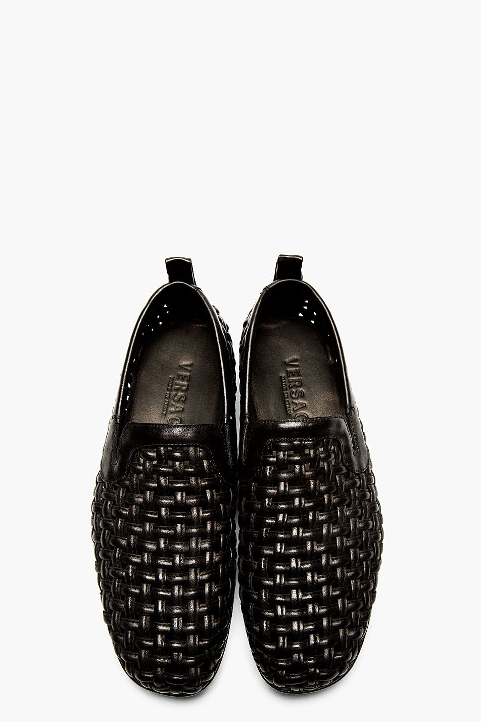 e0230c226a5 VERSACE Black Leather Basket Weave Loafers