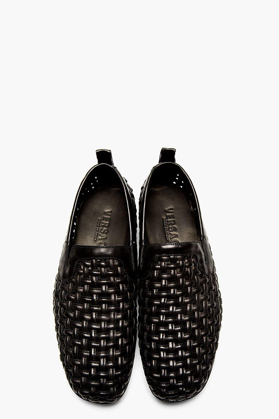 a2d6df1e904 VERSACE Black Leather Basket Weave Loafers | men shoes | Shoes ...