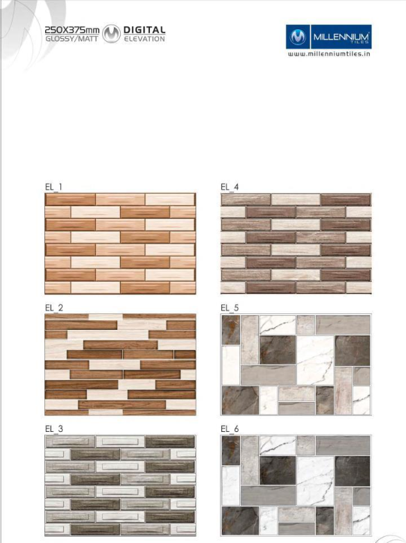 Elevation Design 2013 Millennium Tiles 250x375mm 10x15 Digital Ceramic Glossy Outdoor Wall Tiles El 1 El Wall Tiles Exterior Tiles Ceramic Wall Tiles