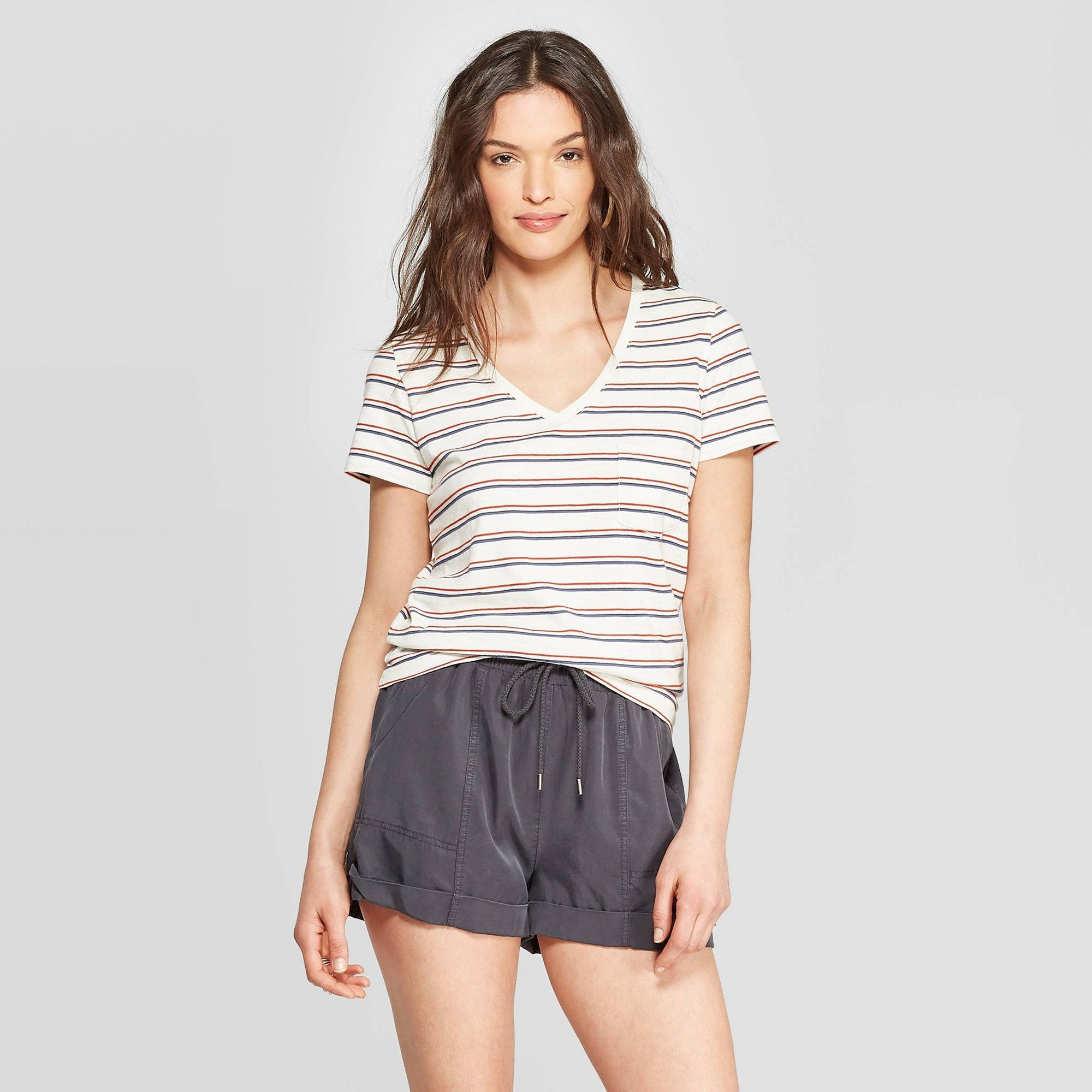 319dabb437 Women's Short Sleeve V-Neck Striped Monterey Pocket T-Shirt ...