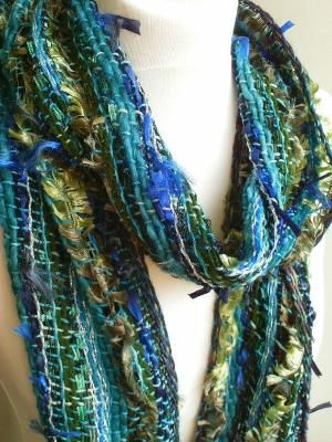Blue/Green Handwoven Scarf Woven Scarf Ethnic by SarahandTheMoon, £40.00 by terri