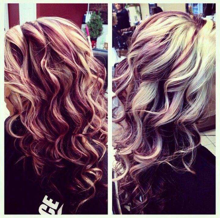 Blonde With Burgundy Maroon Highlights And Dark Chocolate Brown Underneath Red Blonde Hair Hair Styles Hair Highlights