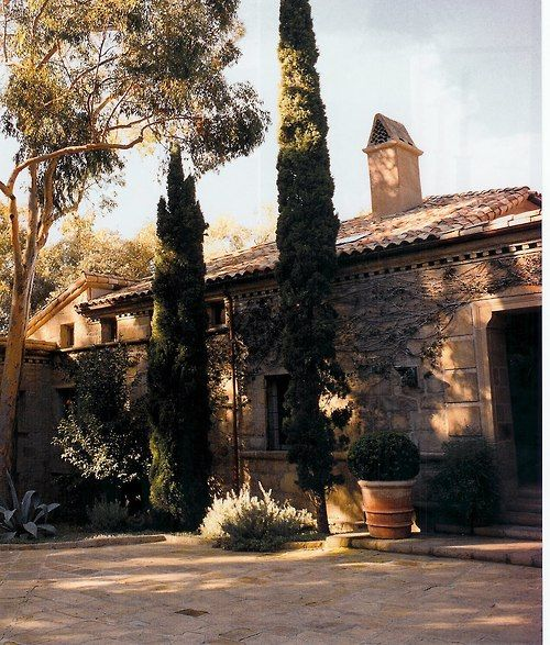 Tuscan House Style With Front Walkway And Italian Cypress: Italian Home, Italian Cypress