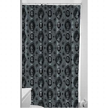 Haunted Mansion Shower Curtain Enter If You Dare This Features Ghostly Images Of A Man And Woman Spiders Skulls More