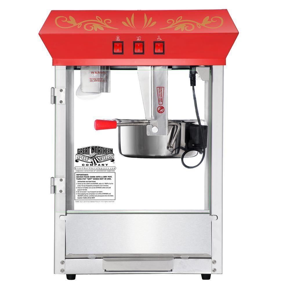Great Northern Foundation 8 Oz Red Countertop Popcorn Machine