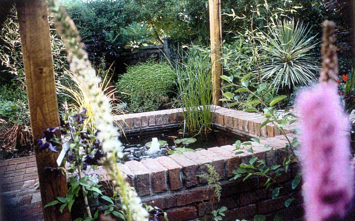 Raised brick pond in small courtyard garden   Recent Work ... on Courtyard Pond Ideas id=36388