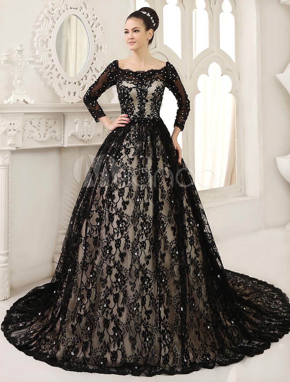 Black Wedding Dress A Line Scoop Neck Sequin Chapel Train Lace Wedding Gown Milanoo Gowns Colored Wedding Dresses Wedding Dresses [ 1316 x 1000 Pixel ]