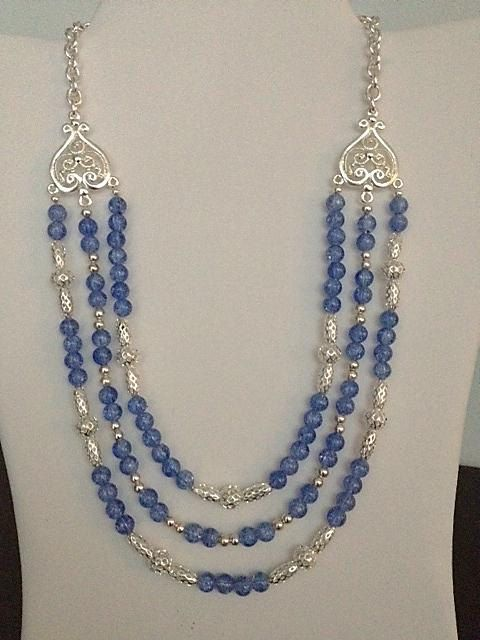 Items similar to Silver & Periwinkle Crackled Bead Pattern 3 Strand on Etsy