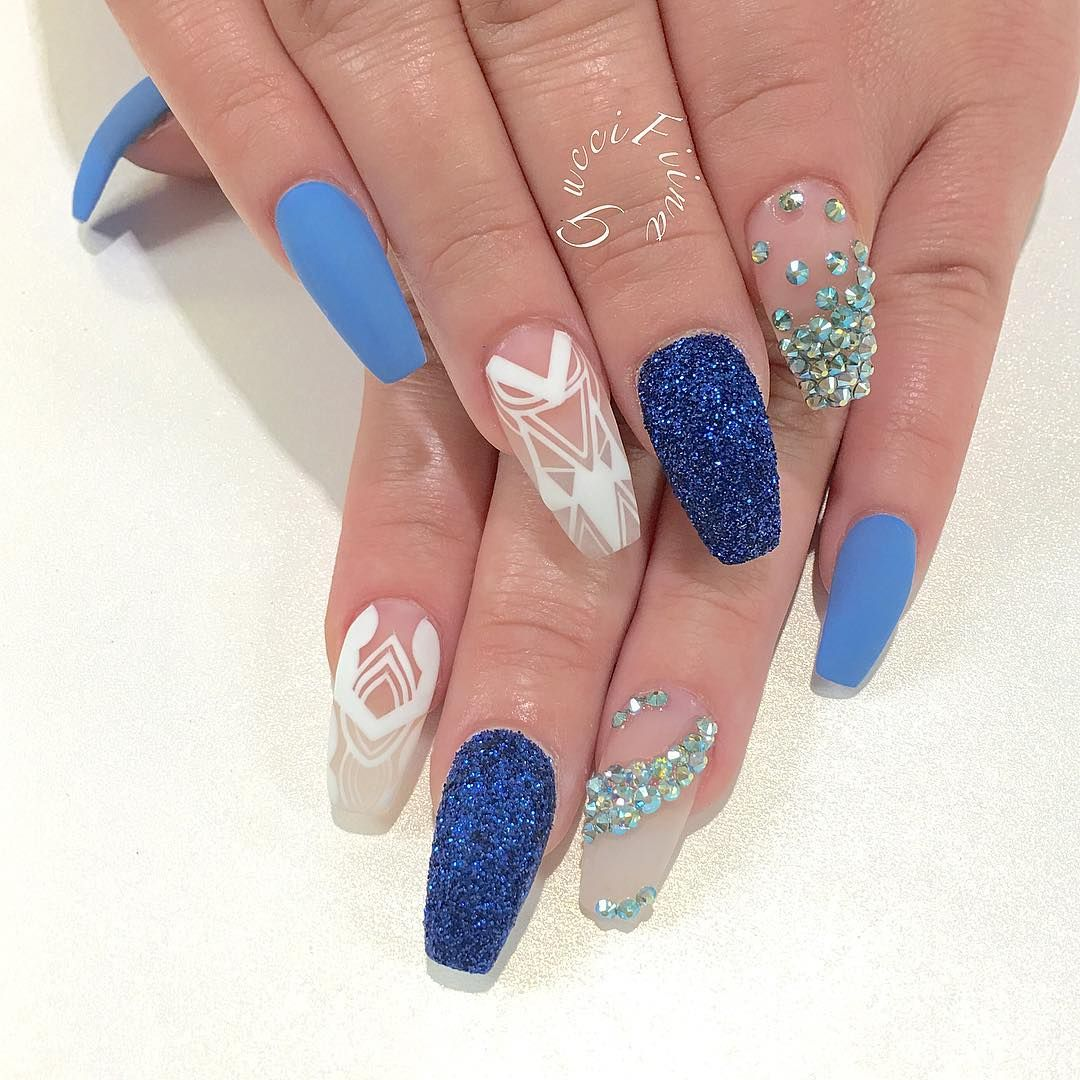 Blue glitter ombr 233 stiletto nails - Explore Blue Colors Gucci And More
