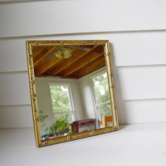 Vintage Mirror in Gold Bamboo Frame Wall Hanging Mirror in Wooden ...