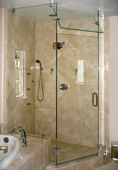 Corner Shower Doors with pivot panel to let out steam. nice design ...