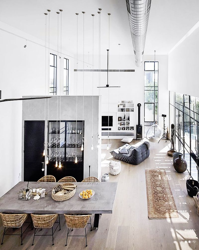 Industrial style loft with great exposed duct work and pendant lights used to effect also interior design interiors studios  lofts pinterest home rh