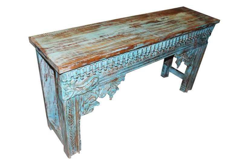Image 0 Blue Console Table Antique Side Table Rustic Sofa Tables