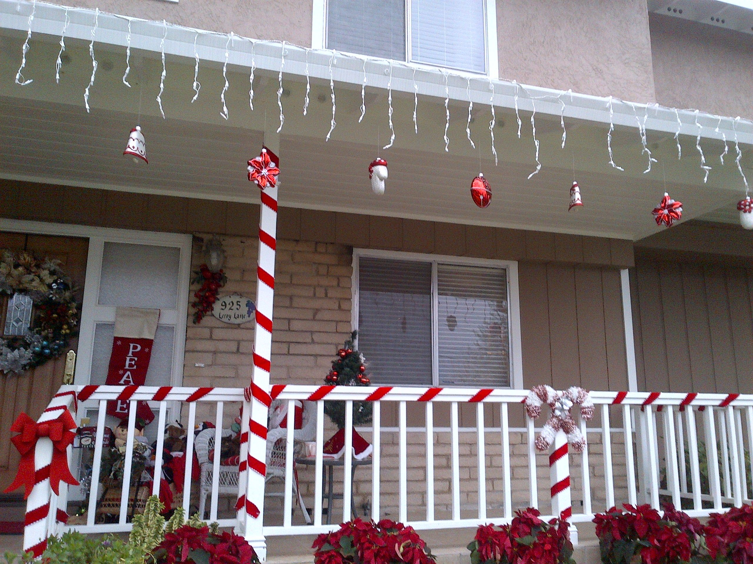 Candy Cane Theme Christmas Decorations On My Front Porch