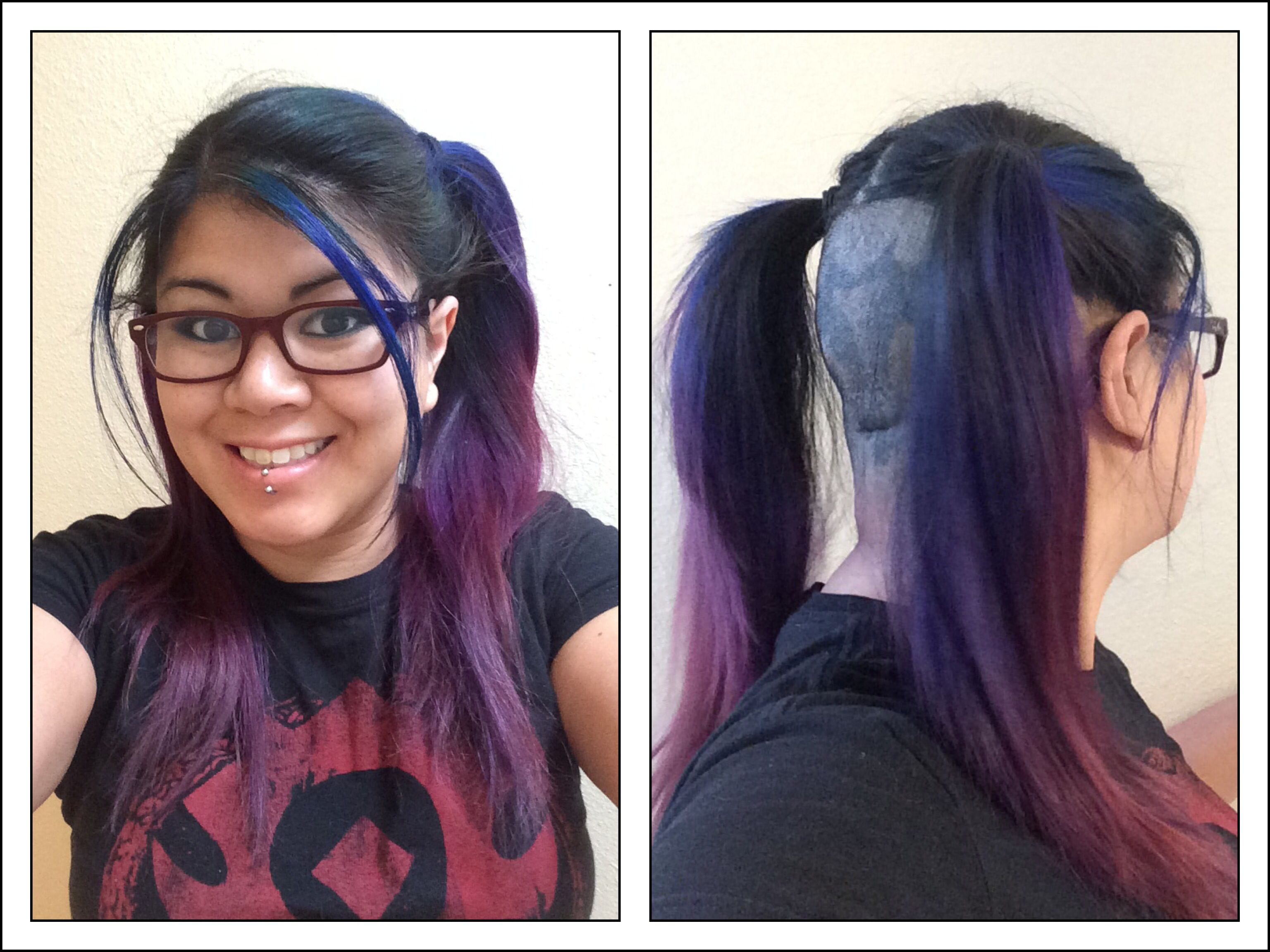 Blue purple ombre half shaved long female hair pig tails - blue ...
