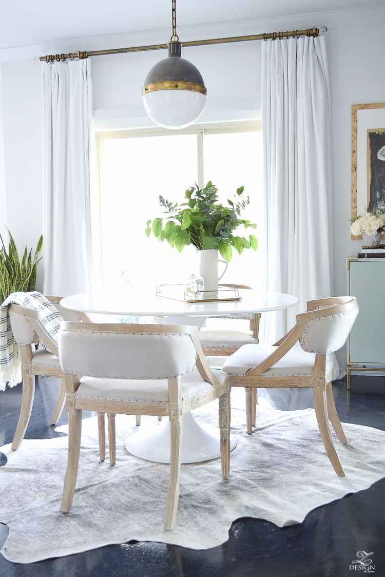 Transitional Modern Dining Room White Tulip Table Fall Decor Clear Pumpkin Linen Curtains Whitman Pendant Brass Curtain Rods With Finial