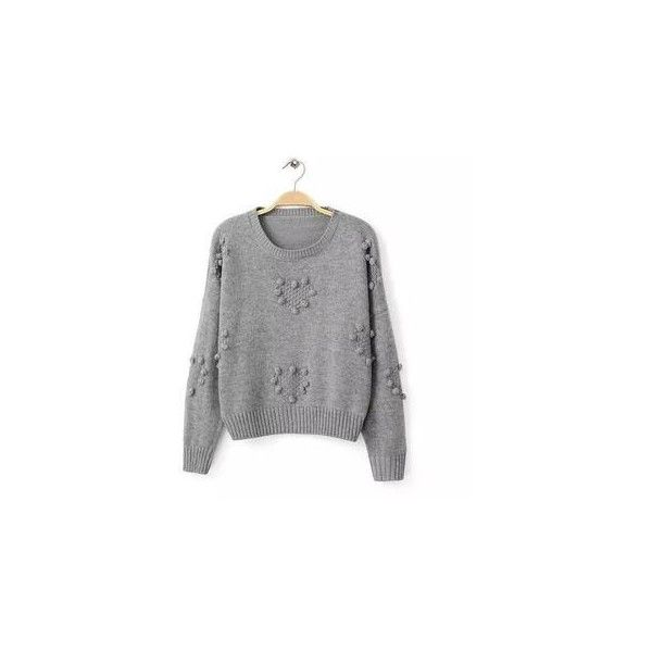 Heart Pompom-Accent Sweater (300 SEK) ❤ liked on Polyvore featuring tops, sweaters, sweatshirt, women, khaki sweater, heart tops, jvl, heart sweater i pom pom sweater