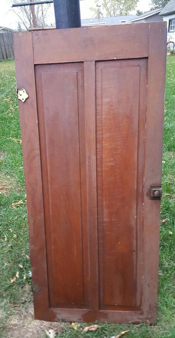 Old Wood Door Antique Cupboard Architectural Salvaged 5 Panel Arts Crafts Solid Pantry Diy Project D8