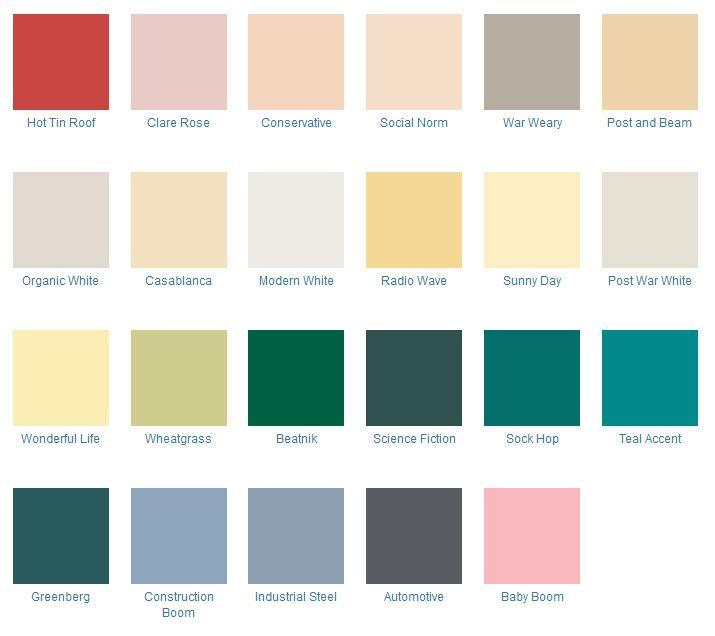 Home Decor Paint Colors: 1940s-1960s Home Color Palette In 2019