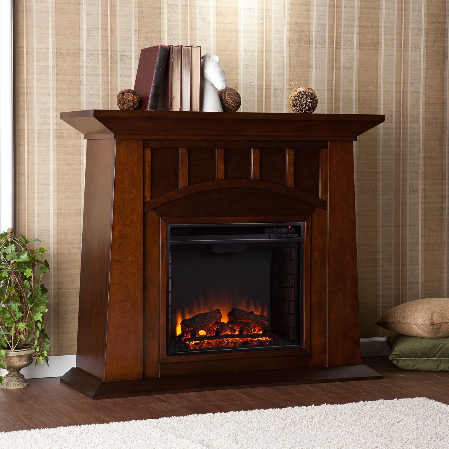 Tallow Espresso Electric Fireplace Contemporary Fireplace