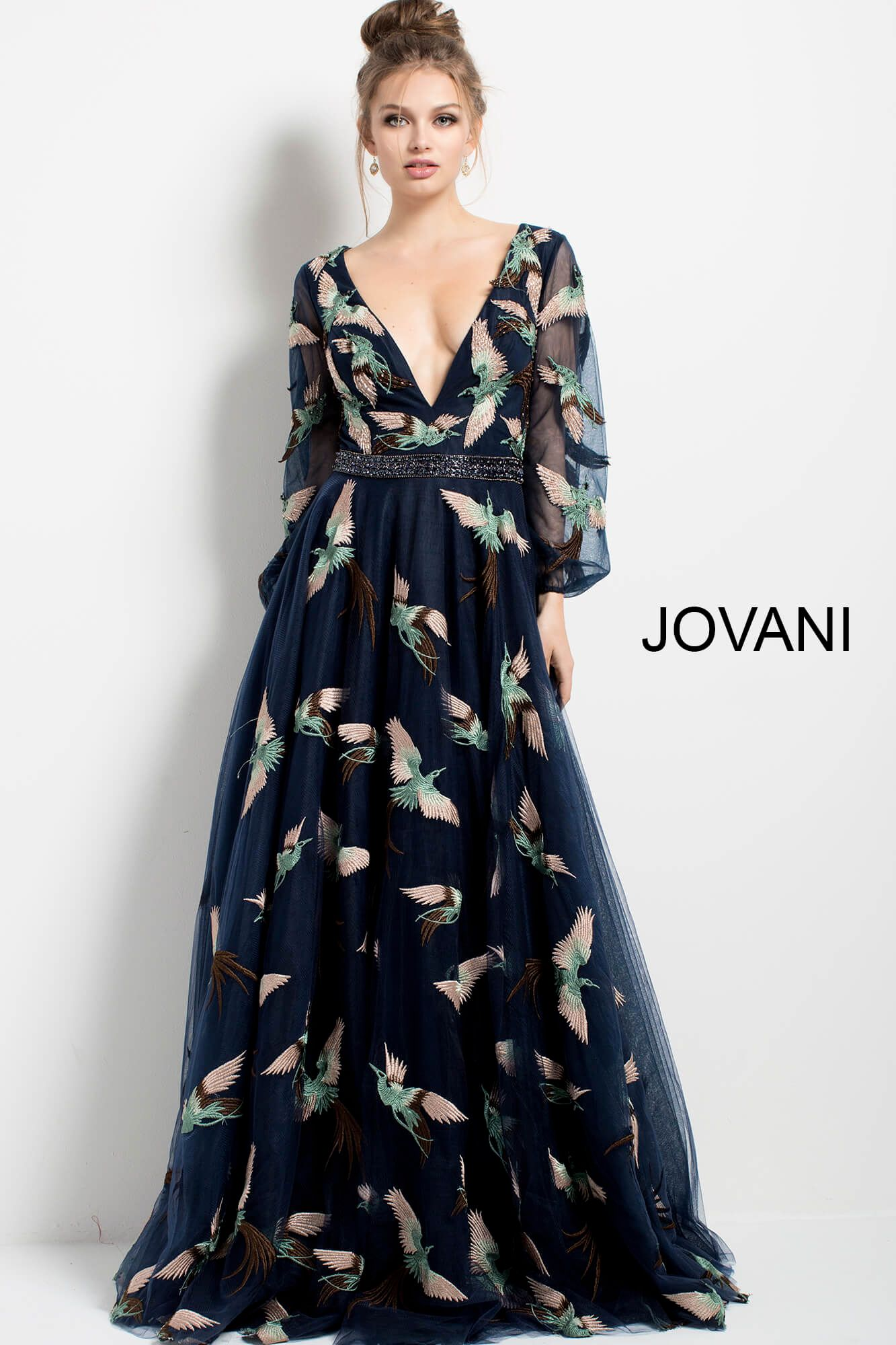 18 Navy Print Plunging V Neck Long Sleeve Evening Gown