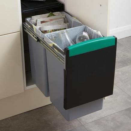 Pullout Recycling Bin 2 Compartments  Kitchen Waste Management Unique Kitchen Waste Bins Decorating Design
