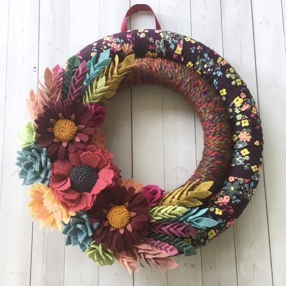 Photo of Felt flower wreath, felt wreath, colorful felt wreath, burgundy wreath, fabric wreath, yarn wreath, double wreath
