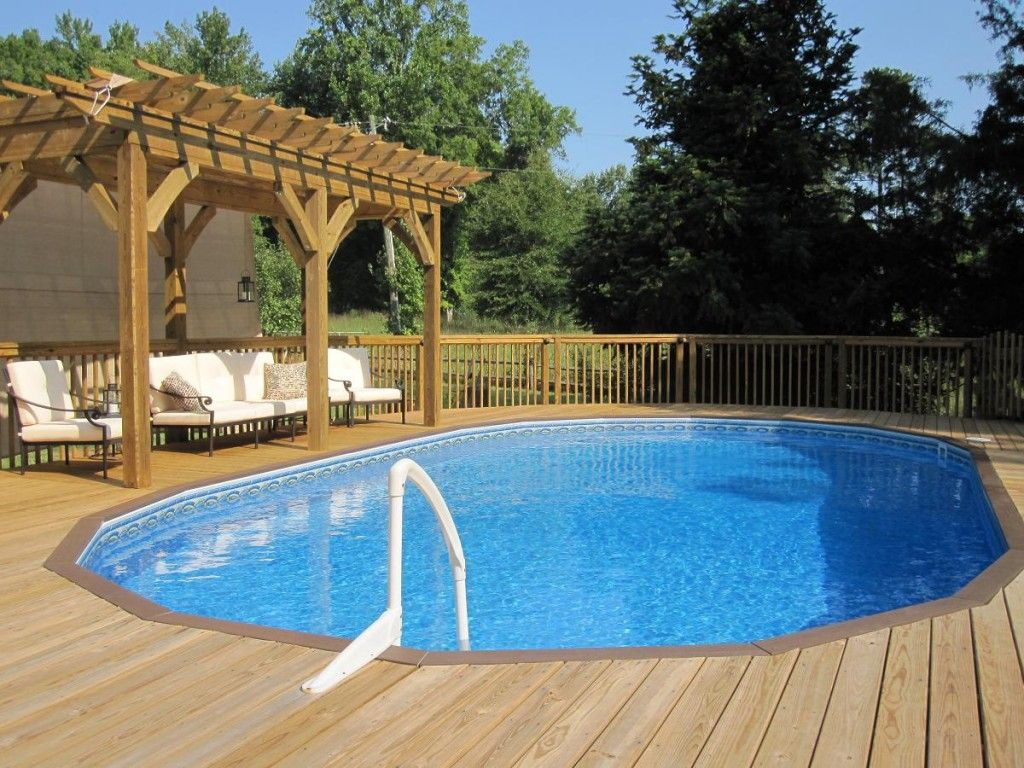 Swimming Pool Charming Simple Above Ground Pool Design Ideas With Brown Wooden Swimming Decks Backyard Pool Small Inground Swimming Pools Small Inground Pool