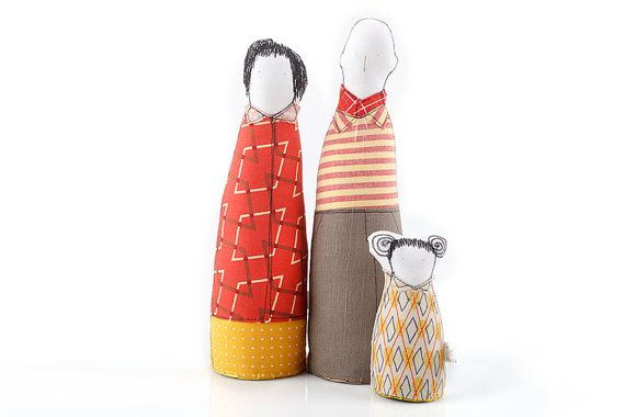 Family portrait-  Couple and child, Mother ,father, girl ,dressed in striped, plaid retro geometric yellow red shades, Fabric Ornament dolls