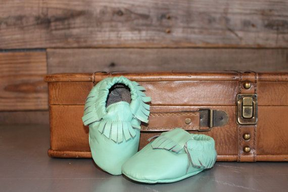 Leather Baby Moccasins Mint by bohobabyshoes on Etsy, $30.00