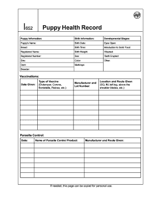 image about Puppy Health Record Printable identified as Pin upon Canine pet dogs
