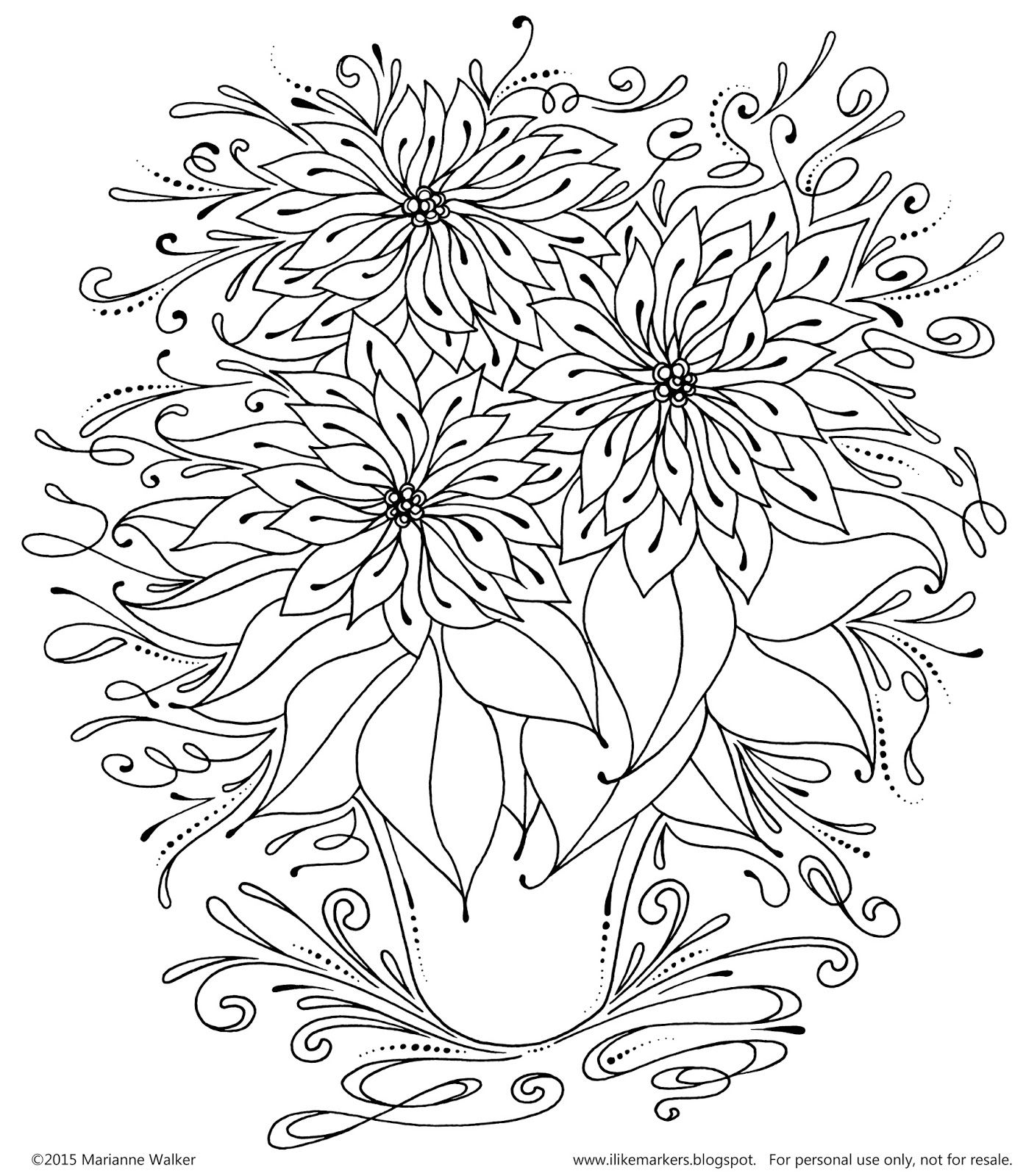 I Like Markers: Free Poinsettia Line Art download | clip art ...