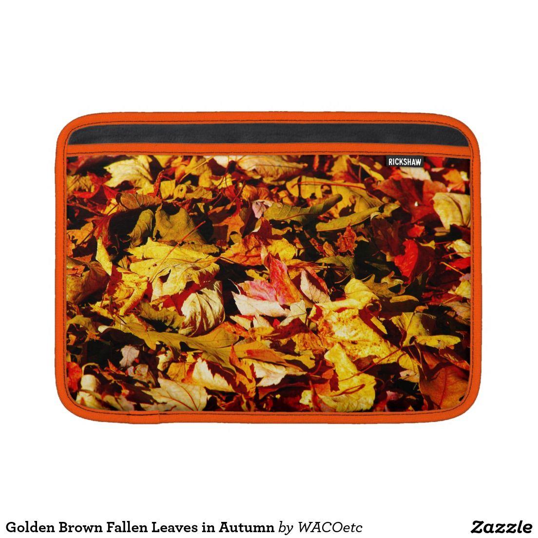 Golden Brown Fallen Leaves in Autumn Sleeve For MacBook Air