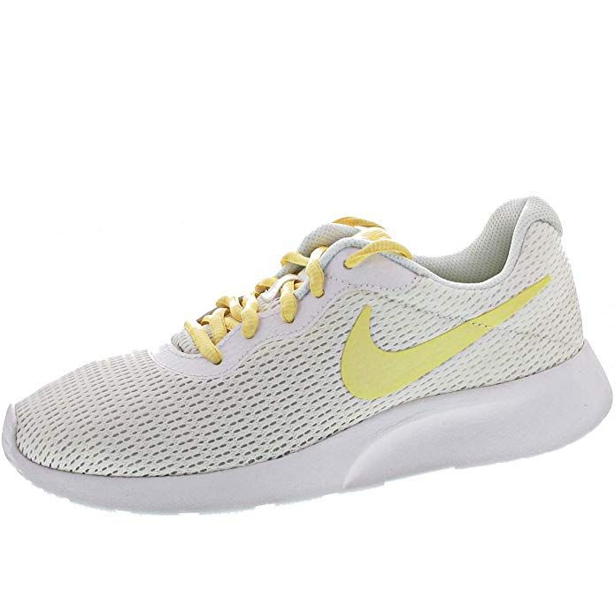 Nike Tanjun Damen Sneaker Laufschuhe Weiss Mit Gelbem Streifen Sneaker Laufschuhe Nike