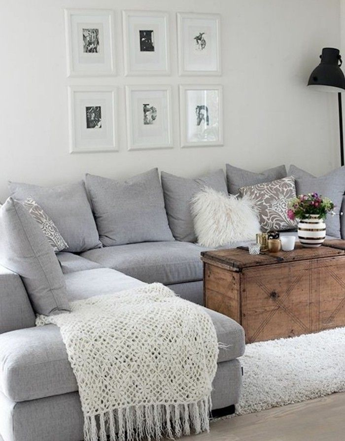 Vintage Wooden Coffee Table Grey Corner Sofa What Colors Match With Grey White Blanket Corner Sofa Living Room Living Room Grey Small Apartment Living Room