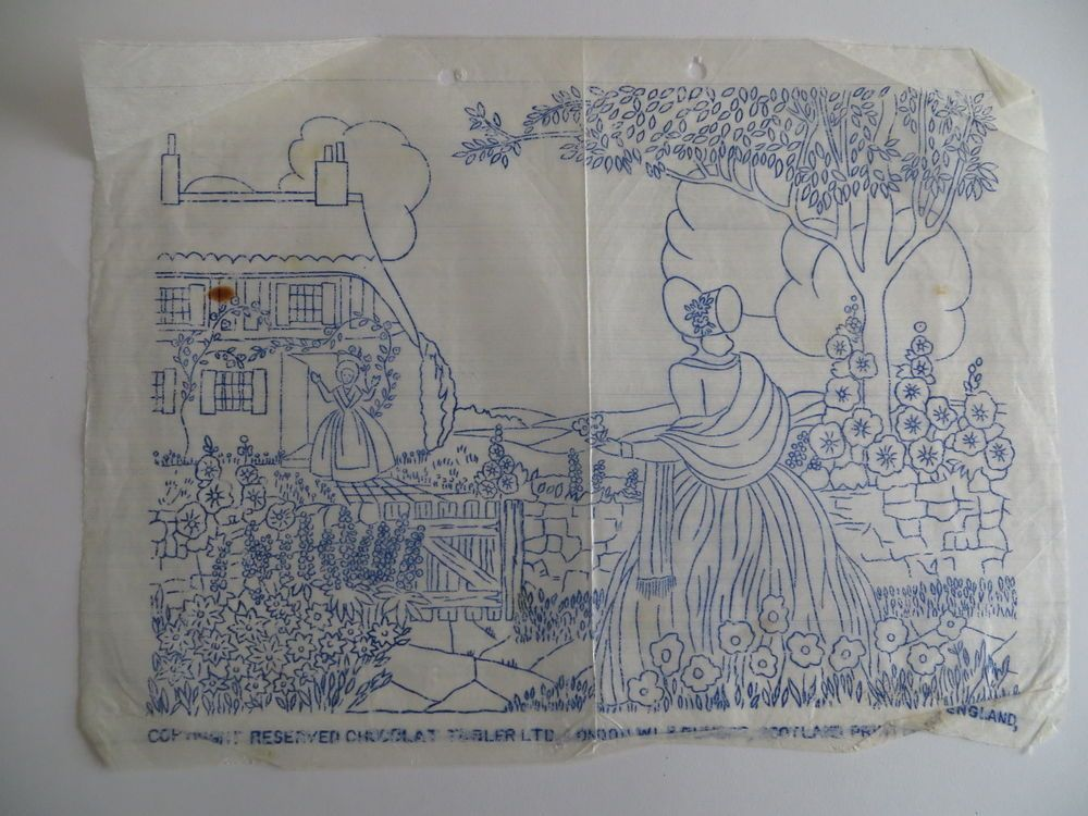 vintage embroidery transfer crinoline lady in country cottage garden ...