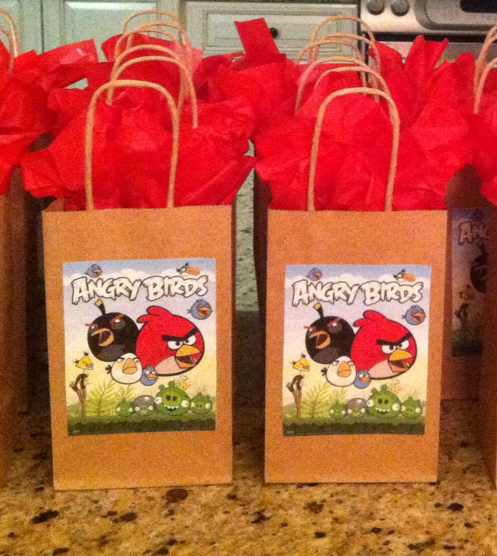 Angry Birds birthday party gift bags